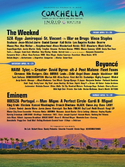 2018 COACHELLA LINE UP